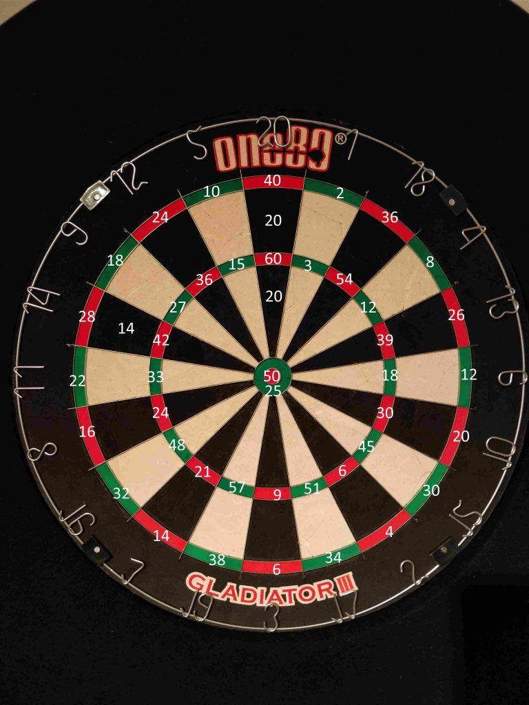 Werte bei der Dartscheibe mit Tripple und Doppelfeldern © mein-darts.de
